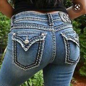Miss Me Distressed Flap Pocket Boot Cut Jeans